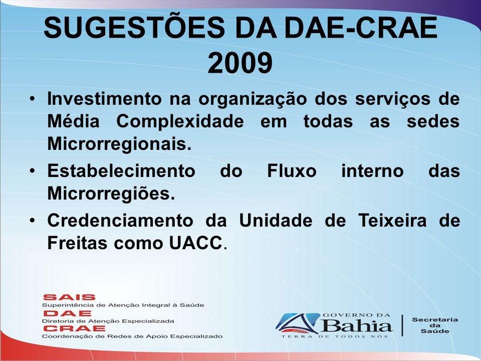 SUGESTÕES DA DAE-CRAE 2009 •Investimento na organização dos serviços de Média Complexidade em todas as sedes Microrregionais. •Estabelecimento do Flux