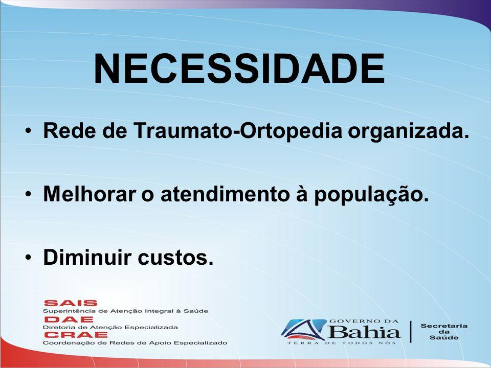 NECESSIDADE •Rede de Traumato-Ortopedia organizada. •Melhorar o atendimento à população. •Diminuir custos.