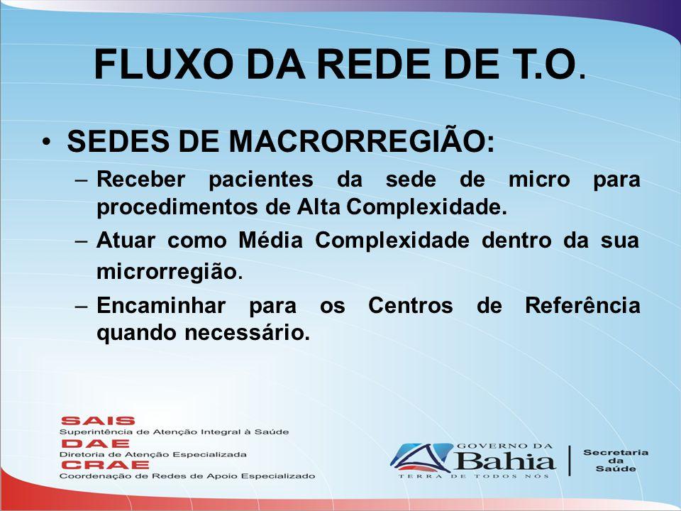 FLUXO DA REDE DE T.O. •SEDES DE MACRORREGIÃO: –Receber pacientes da sede de micro para procedimentos de Alta Complexidade. –Atuar como Média Complexid