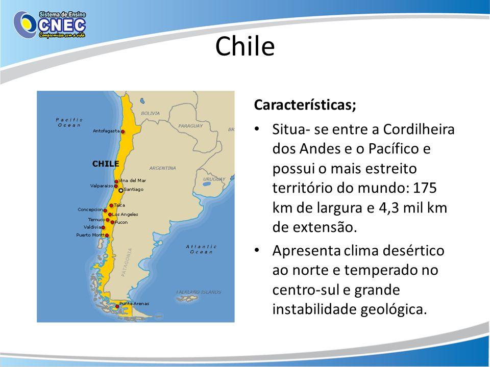 Chile Características; • Situa- se entre a Cordilheira dos Andes e o Pacífico e possui o mais estreito território do mundo: 175 km de largura e 4,3 mi