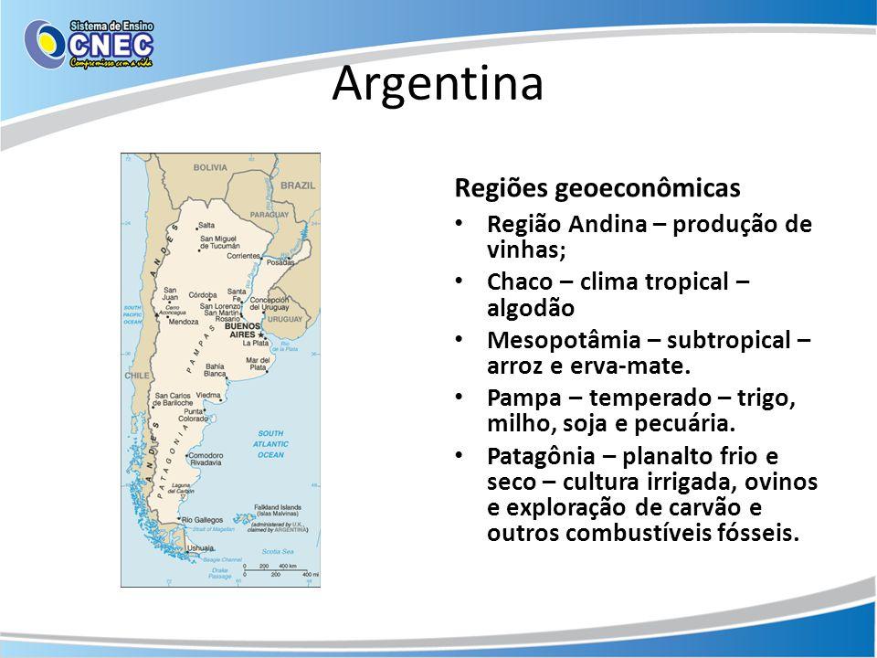 Argentina Regiões geoeconômicas • Região Andina – produção de vinhas; • Chaco – clima tropical – algodão • Mesopotâmia – subtropical – arroz e erva-ma