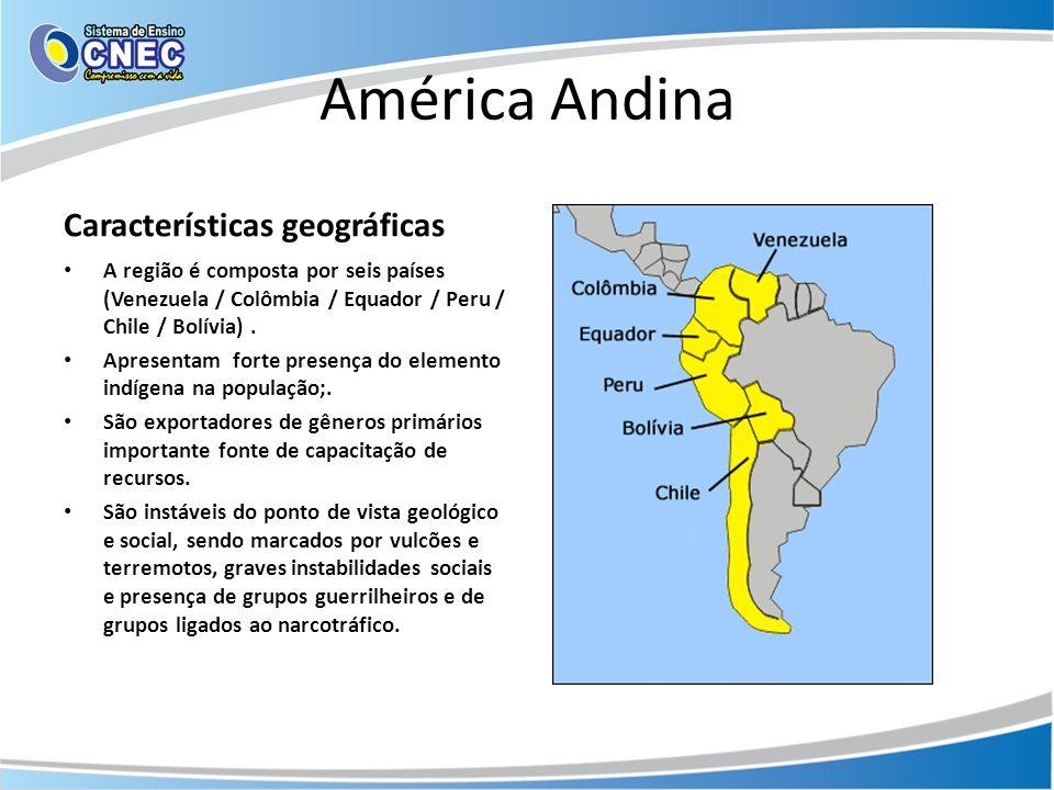 América Andina Características geográficas • A região é composta por seis países (Venezuela / Colômbia / Equador / Peru / Chile / Bolívia). • Apresent