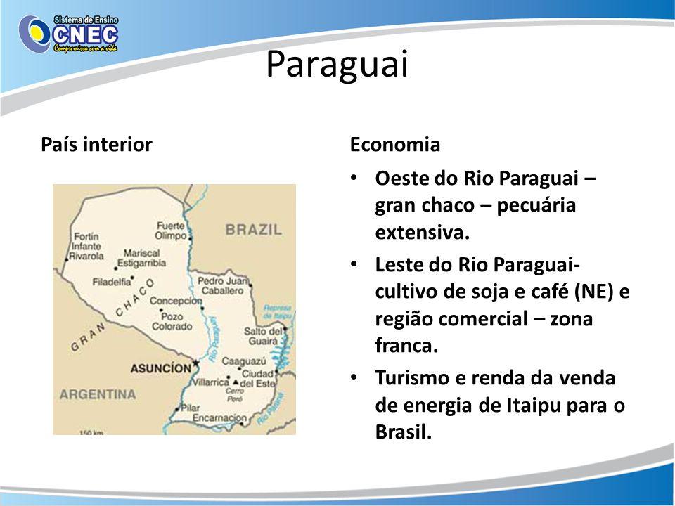 Paraguai País interiorEconomia • Oeste do Rio Paraguai – gran chaco – pecuária extensiva. • Leste do Rio Paraguai- cultivo de soja e café (NE) e regiã