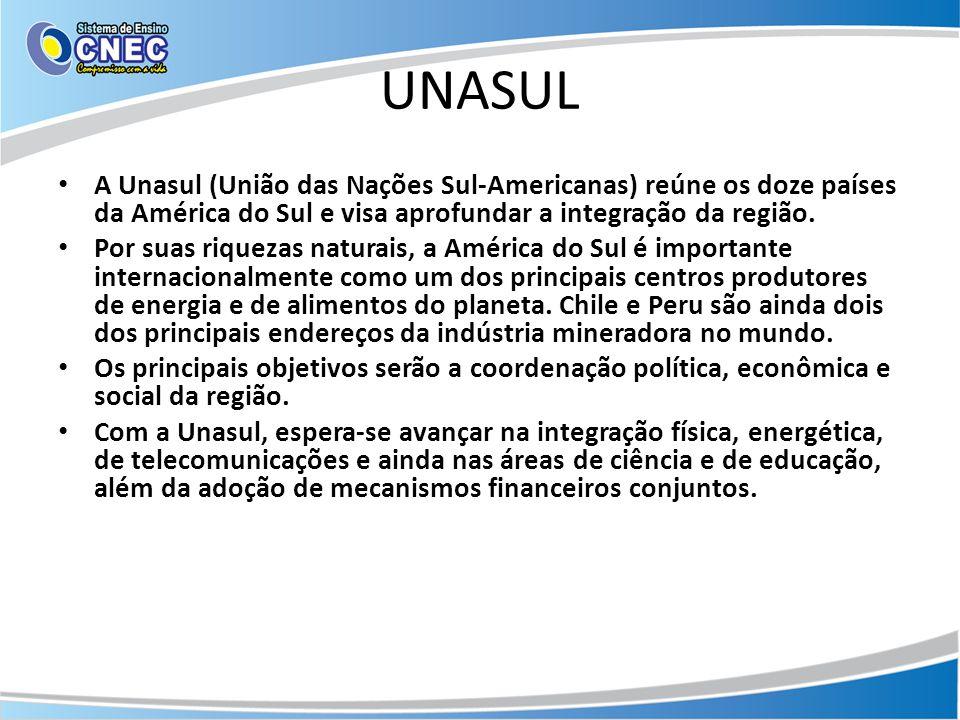 UNASUL • A Unasul (União das Nações Sul-Americanas) reúne os doze países da América do Sul e visa aprofundar a integração da região. • Por suas riquez