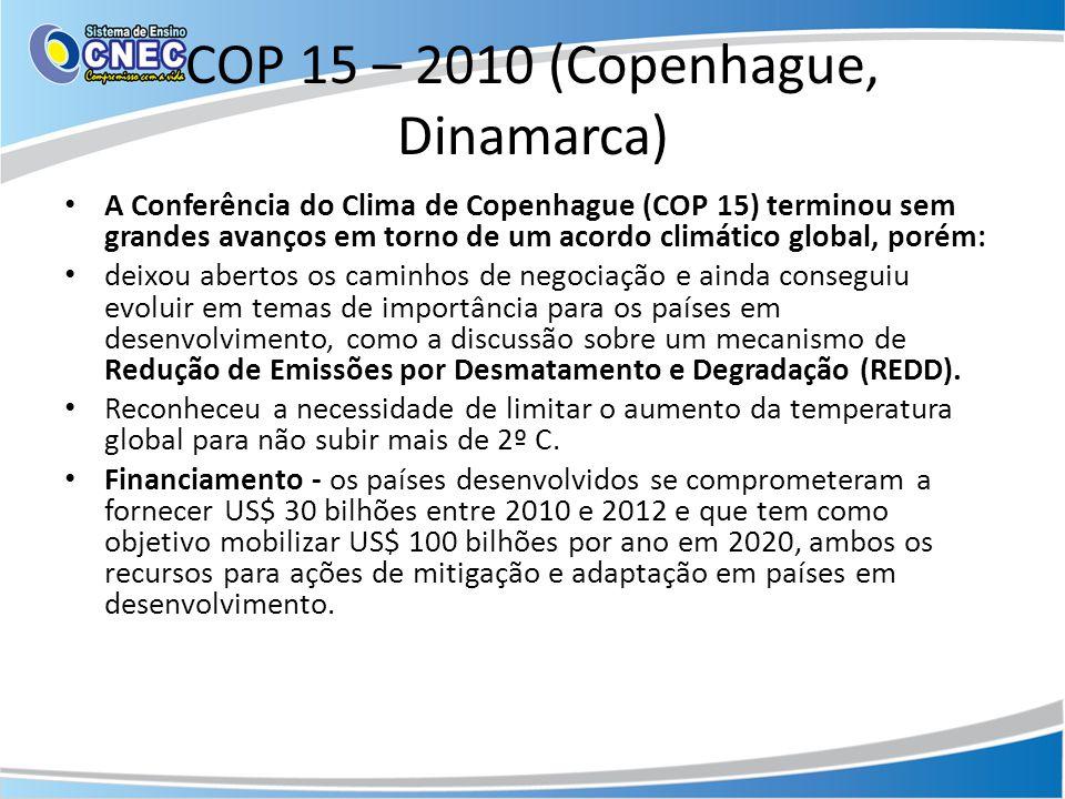 COP 15 – 2010 (Copenhague, Dinamarca) • A Conferência do Clima de Copenhague (COP 15) terminou sem grandes avanços em torno de um acordo climático glo