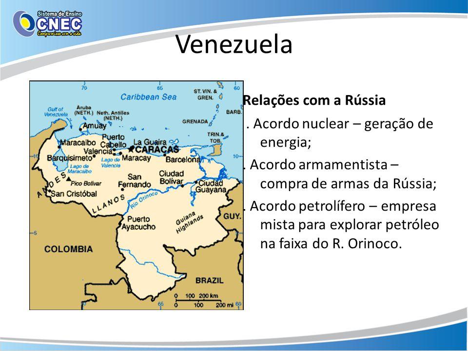 Venezuela Relações com a Rússia. Acordo nuclear – geração de energia;. Acordo armamentista – compra de armas da Rússia;. Acordo petrolífero – empresa