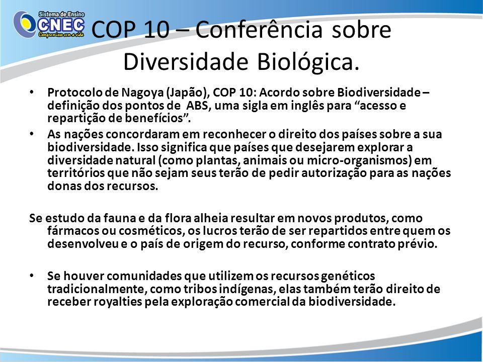 COP 10 – Conferência sobre Diversidade Biológica. • Protocolo de Nagoya (Japão), COP 10: Acordo sobre Biodiversidade – definição dos pontos de ABS, um
