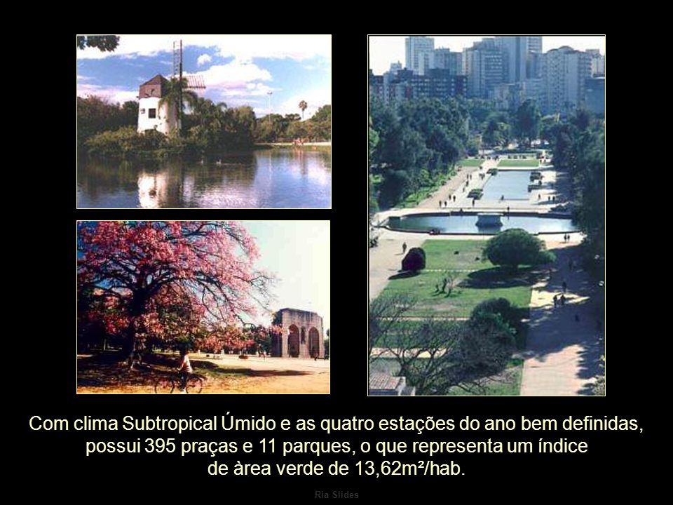 Ria Slides Com clima Subtropical Úmido e as quatro estações do ano bem definidas, possui 395 praças e 11 parques, o que representa um índice de àrea verde de 13,62m²/hab.