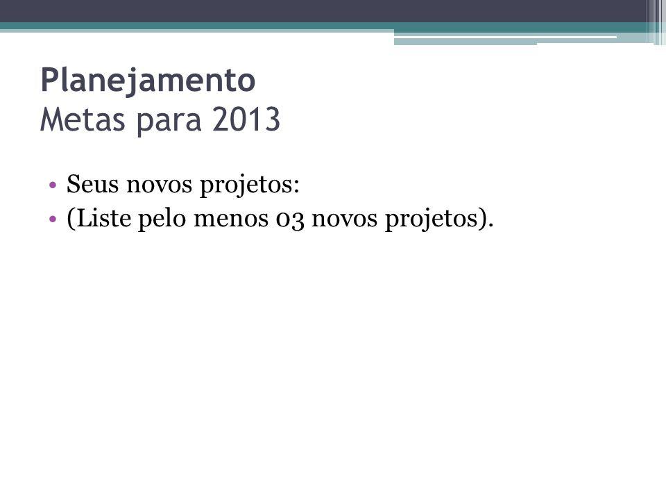 Planejamento Metas para 2013 •Seus novos projetos: •(Liste pelo menos 03 novos projetos).