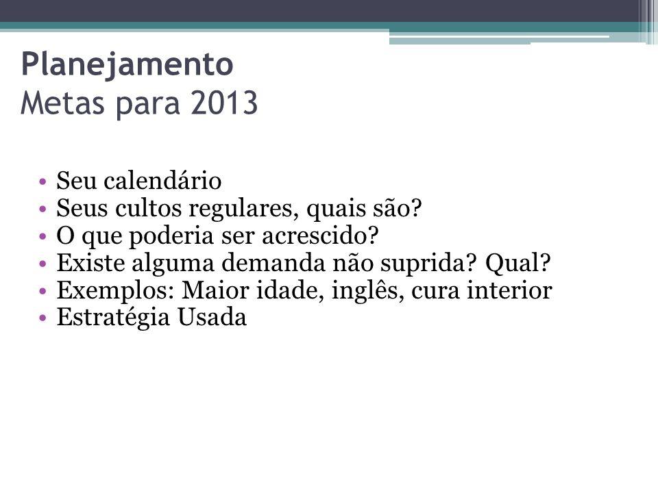 Planejamento Metas para 2013 •Seus revisões de Vida •Quantos são ao ano.