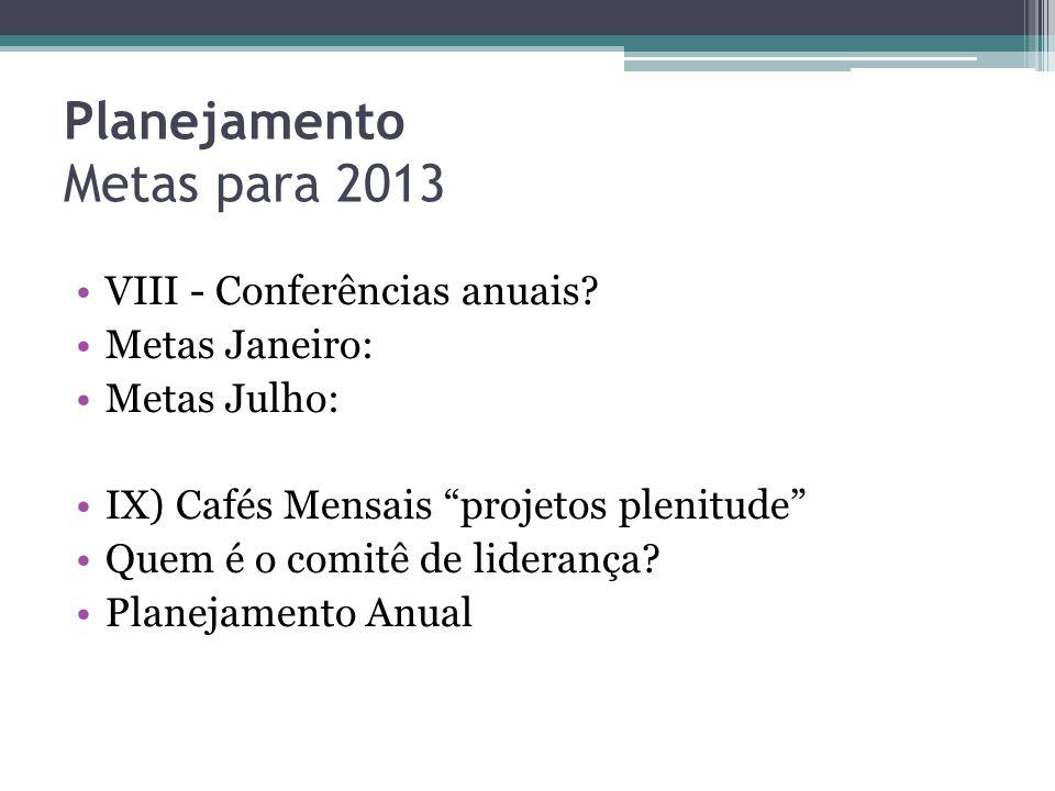 Planejamento Metas para 2013 •X) Quais os ministérios com cursos estão disponíveis.