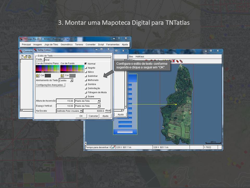 """3. Montar uma Mapoteca Digital para TNTatlas Configure o estilo de texto conforme sugerido e clique a seguir em """"OK""""."""