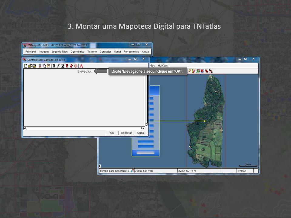 3. Montar uma Mapoteca Digital para TNTatlas Digite Elevação e a seguir clique em OK .