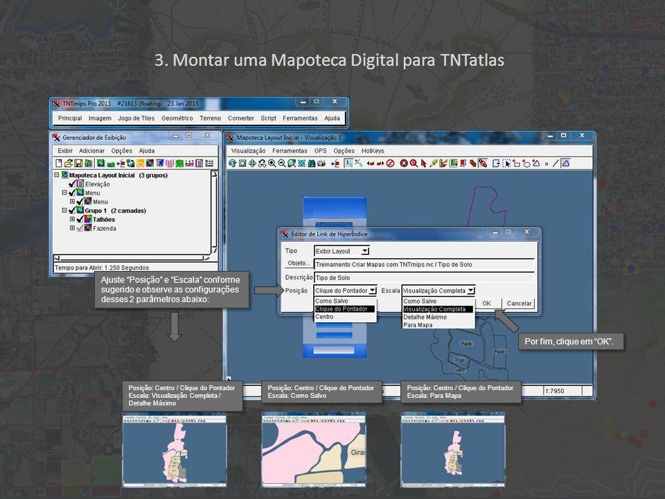 3. Montar uma Mapoteca Digital para TNTatlas Posição: Centro / Clique do Pontador Escala: Visualização Completa / Detalhe Máximo Posição: Centro / Cli