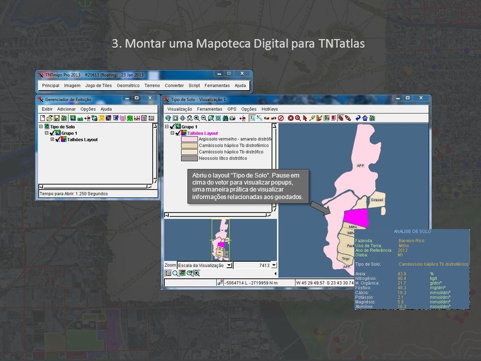 3. Montar uma Mapoteca Digital para TNTatlas Abriu o layout Tipo de Solo .