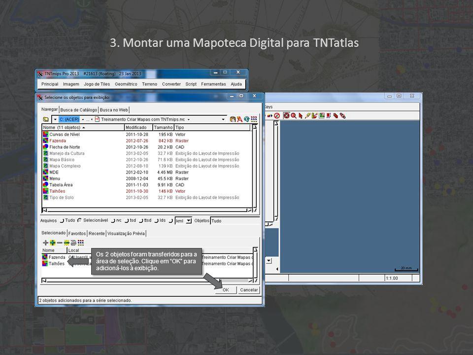 """3. Montar uma Mapoteca Digital para TNTatlas Os 2 objetos foram transferidos para a área de seleção. Clique em """"OK"""" para adicioná-los à exibição."""