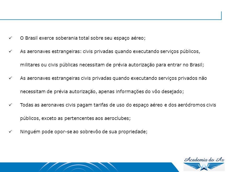  Em caso de dano à propriedade em pouso forçado, o proprietário do solo poderá seqüestrar a aeronave até que se garanta o pagamento dos prejuízos;  O lançamento de coisas depende de autorização da autoridade competente;  O pouso de entrada e a decolagem de saída de aeronave do Brasil somente poderão ser feitos em aeroporto internacional;  Controle do Espaço Aéreo = Proteção ao Voo = Auxílio à Navegação (Responsabilidade do DECEA Departamento de Controle do Espaço Aéreo)  O comandante sempre é obrigado a prestar socorro, porém sem colocar sua aeronave em risco;