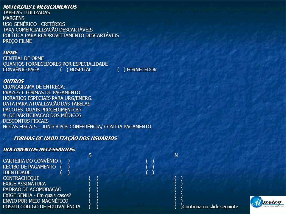 MATERIAIS E MEDICAMENTOS TABELAS UTILIZADAS MARGENS USO GENÉRICO - CRITÉRIOS TAXA COMERCIALIZAÇÃO DESCARTÁVEIS POLÍTICA PARA REAPROVEITAMENTO DESCARTÁVEIS PREÇO FILME OPME CENTRAL DE OPME QUANTOS FORNECEDORES POR ESPECIALIDADE CONVÊNIO PAGA( ) HOSPITAL( ) FORNECEDOR OUTROS CRONOGRAMA DE ENTREGA: PRAZOS E FORMAS DE PAGAMENTO: HORÁRIOS ESPECIAIS PARA URG/EMERG.