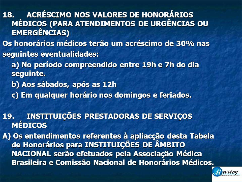 18.ACRÉSCIMO NOS VALORES DE HONORÁRIOS MÉDICOS (PARA ATENDIMENTOS DE URGÊNCIAS OU EMERGÊNCIAS) Os honorários médicos terão um acréscimo de 30% nas seguintes eventualidades: a) No período compreendido entre 19h e 7h do dia seguinte.