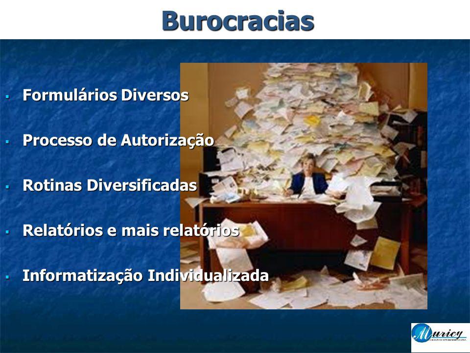  Formulários Diversos  Processo de Autorização  Rotinas Diversificadas  Relatórios e mais relatórios  Informatização Individualizada Burocracias