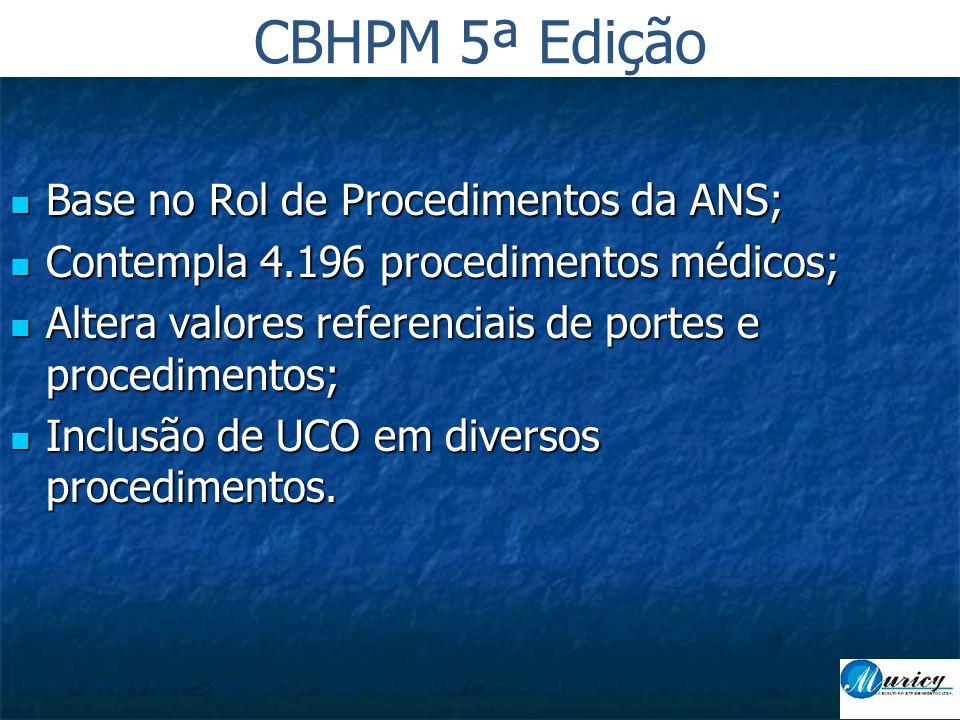  Base no Rol de Procedimentos da ANS;  Contempla 4.196 procedimentos médicos;  Altera valores referenciais de portes e procedimentos;  Inclusão de UCO em diversos procedimentos.