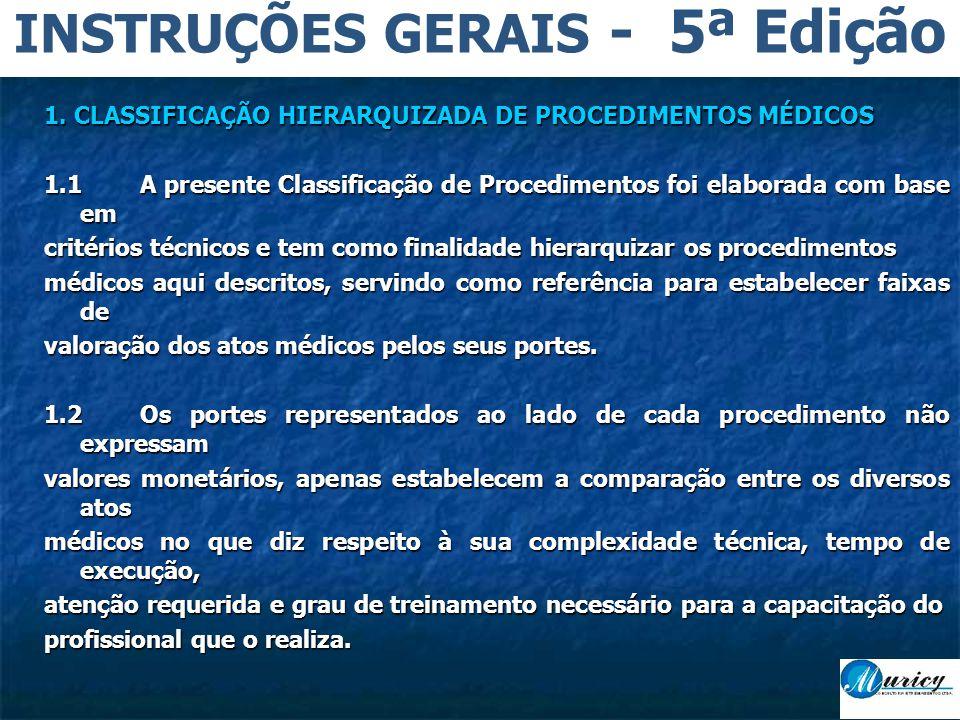 1. CLASSIFICAÇÃO HIERARQUIZADA DE PROCEDIMENTOS MÉDICOS 1.1A presente Classificação de Procedimentos foi elaborada com base em critérios técnicos e te