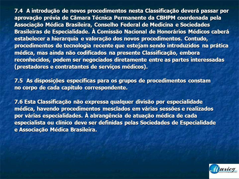 7.4A introdução de novos procedimentos nesta Classificação deverá passar por aprovação prévia de Câmara Técnica Permanente da CBHPM coordenada pela Associação Médica Brasileira, Conselho Federal de Medicina e Sociedades Brasileiras de Especialidade.