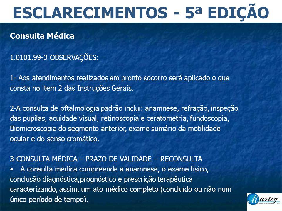 Consulta Médica 1.0101.99-3 OBSERVAÇÕES: 1- Aos atendimentos realizados em pronto socorro será aplicado o que consta no item 2 das Instruções Gerais.