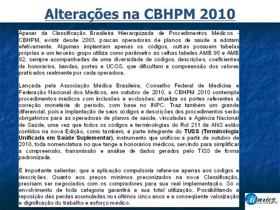 Alterações na CBHPM 2010