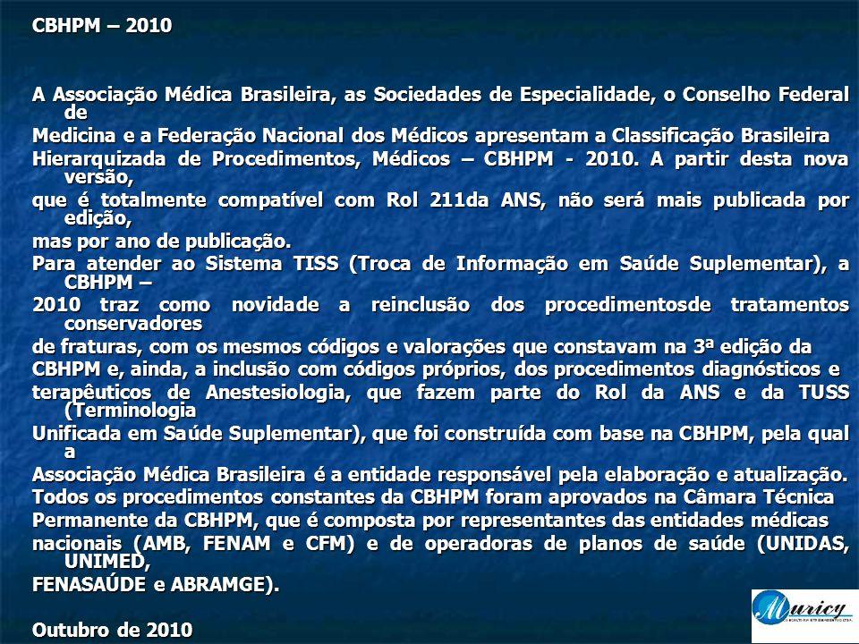 CBHPM – 2010 A Associação Médica Brasileira, as Sociedades de Especialidade, o Conselho Federal de Medicina e a Federação Nacional dos Médicos apresentam a Classificação Brasileira Hierarquizada de Procedimentos, Médicos – CBHPM - 2010.