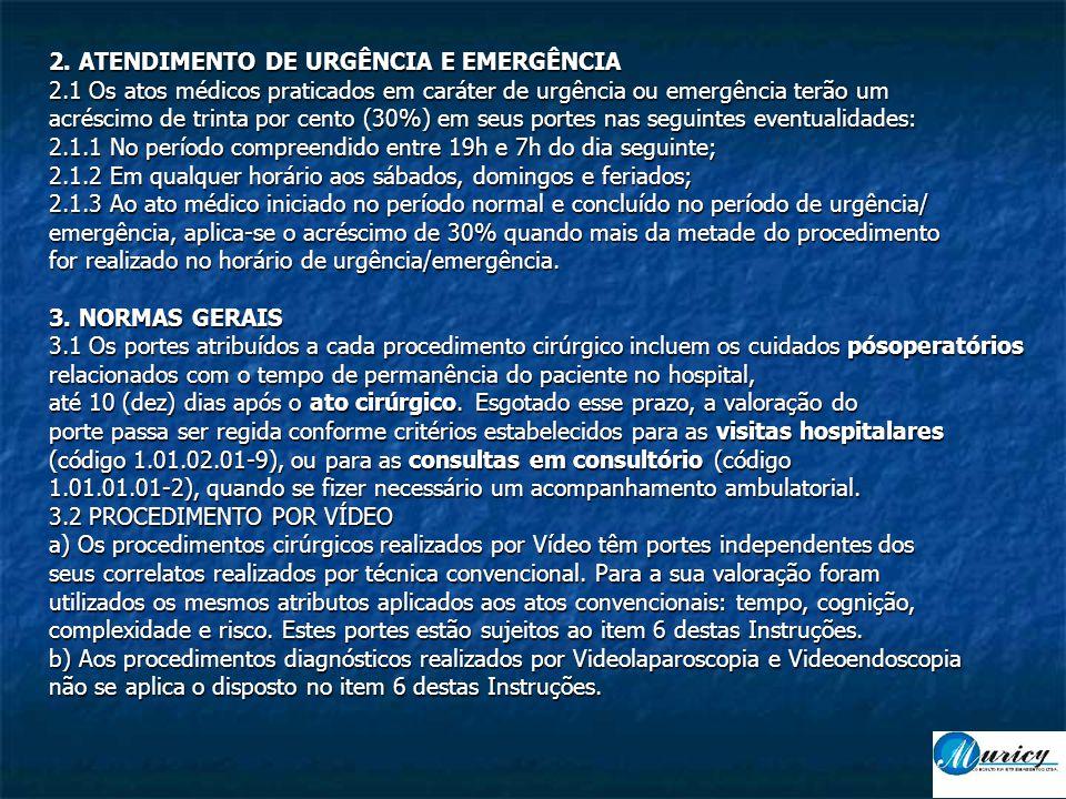 2. ATENDIMENTO DE URGÊNCIA E EMERGÊNCIA 2.1 Os atos médicos praticados em caráter de urgência ou emergência terão um acréscimo de trinta por cento (30
