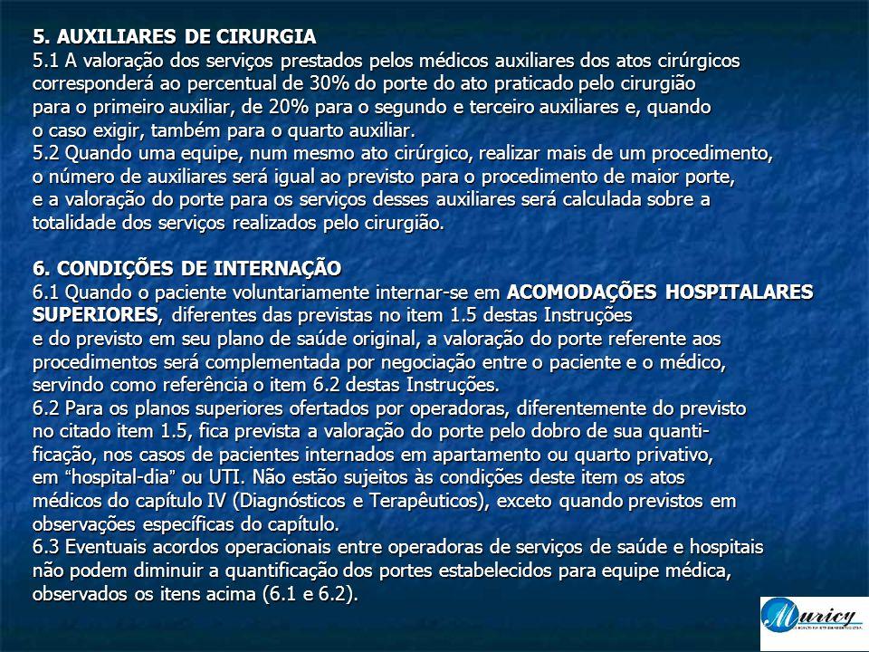 5. AUXILIARES DE CIRURGIA 5.1 A valoração dos serviços prestados pelos médicos auxiliares dos atos cirúrgicos corresponderá ao percentual de 30% do po