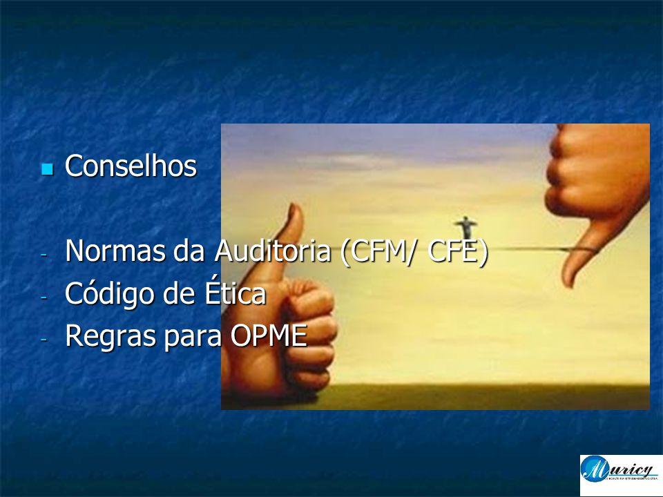  Conselhos - Normas da Auditoria (CFM/ CFE) - Código de Ética - Regras para OPME