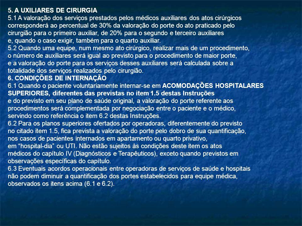 5. A UXILIARES DE CIRURGIA 5.1 A valoração dos serviços prestados pelos médicos auxiliares dos atos cirúrgicos corresponderá ao percentual de 30% da v