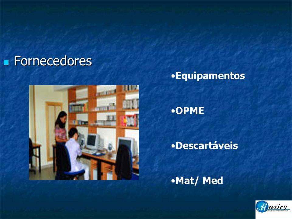  Fornecedores •Equipamentos •OPME •Descartáveis •Mat/ Med
