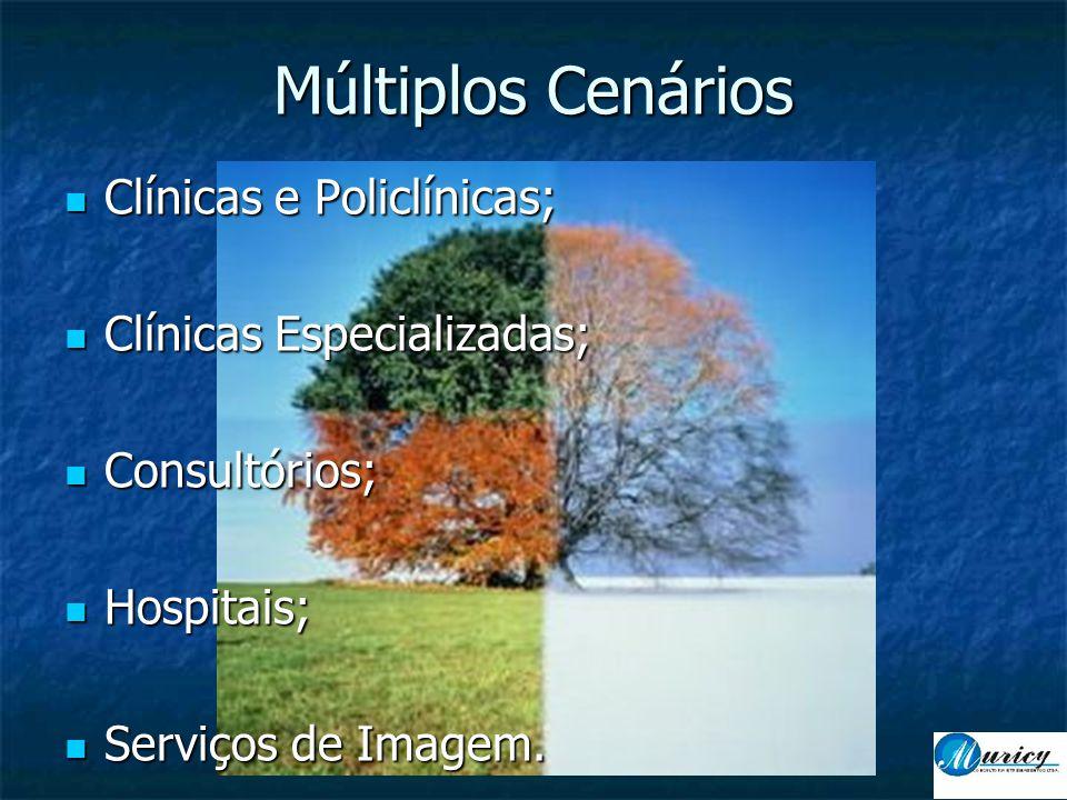 Múltiplos Cenários  Clínicas e Policlínicas;  Clínicas Especializadas;  Consultórios;  Hospitais;  Serviços de Imagem.