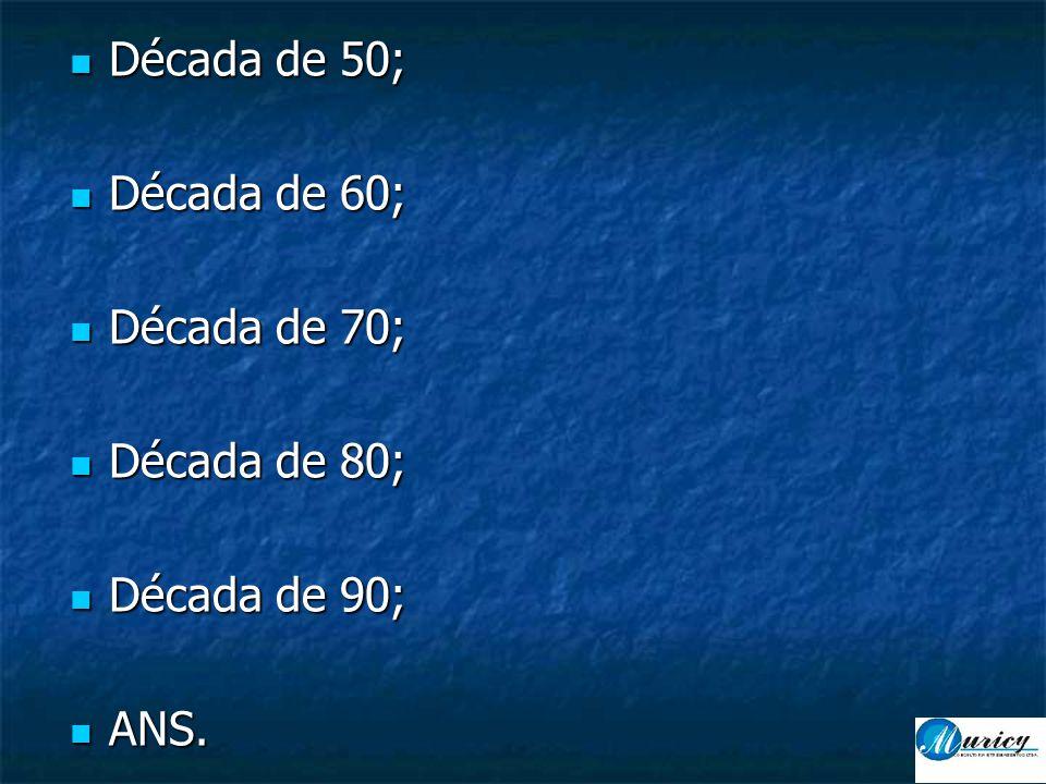  Década de 50;  Década de 60;  Década de 70;  Década de 80;  Década de 90;  ANS.