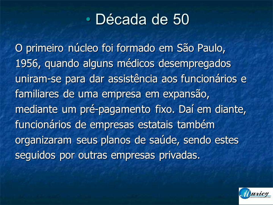 • Década de 50 O primeiro núcleo foi formado em São Paulo, 1956, quando alguns médicos desempregados uniram-se para dar assistência aos funcionários e familiares de uma empresa em expansão, mediante um pré-pagamento fixo.