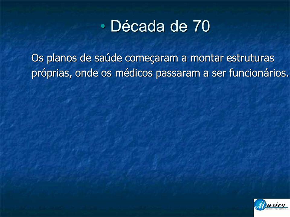 • Década de 70 Os planos de saúde começaram a montar estruturas próprias, onde os médicos passaram a ser funcionários.