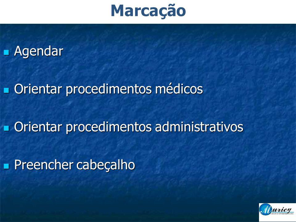  Agendar  Orientar procedimentos médicos  Orientar procedimentos administrativos  Preencher cabeçalho Marcação