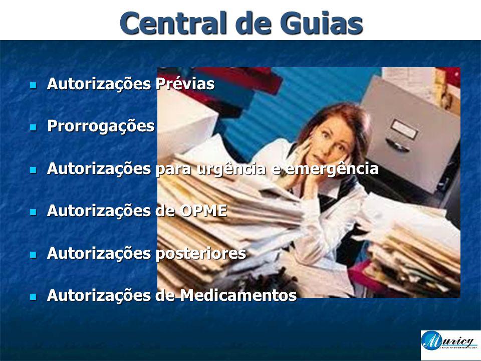  Autorizações Prévias  Prorrogações  Autorizações para urgência e emergência  Autorizações de OPME  Autorizações posteriores  Autorizações de Medicamentos Central de Guias