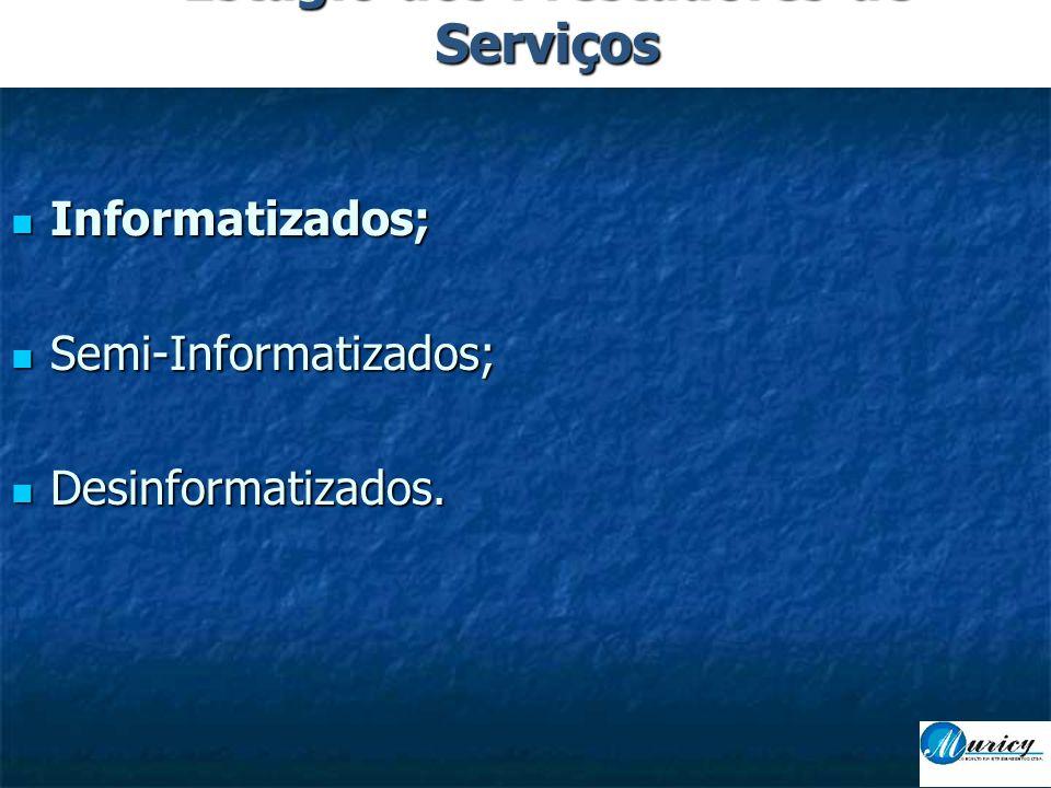  Informatizados;  Semi-Informatizados;  Desinformatizados. Estágio dos Prestadores de Serviços