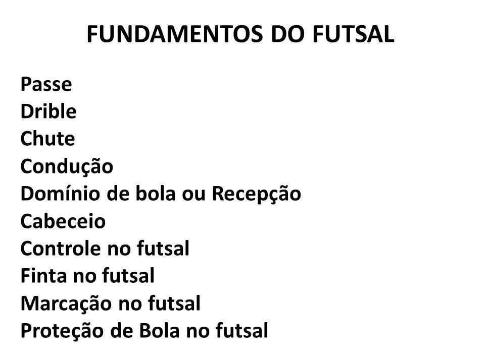 FUNDAMENTOS DO FUTSAL Passe Drible Chute Condução Domínio de bola ou Recepção Cabeceio Controle no futsal Finta no futsal Marcação no futsal Proteção