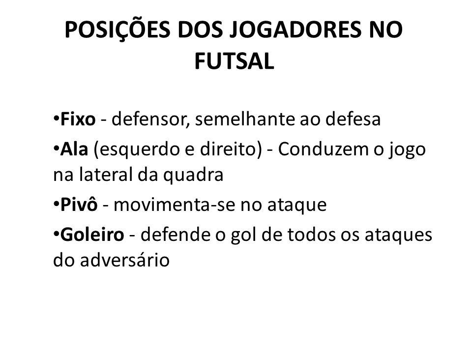 POSIÇÕES DOS JOGADORES NO FUTSAL • Fixo - defensor, semelhante ao defesa • Ala (esquerdo e direito) - Conduzem o jogo na lateral da quadra • Pivô - mo