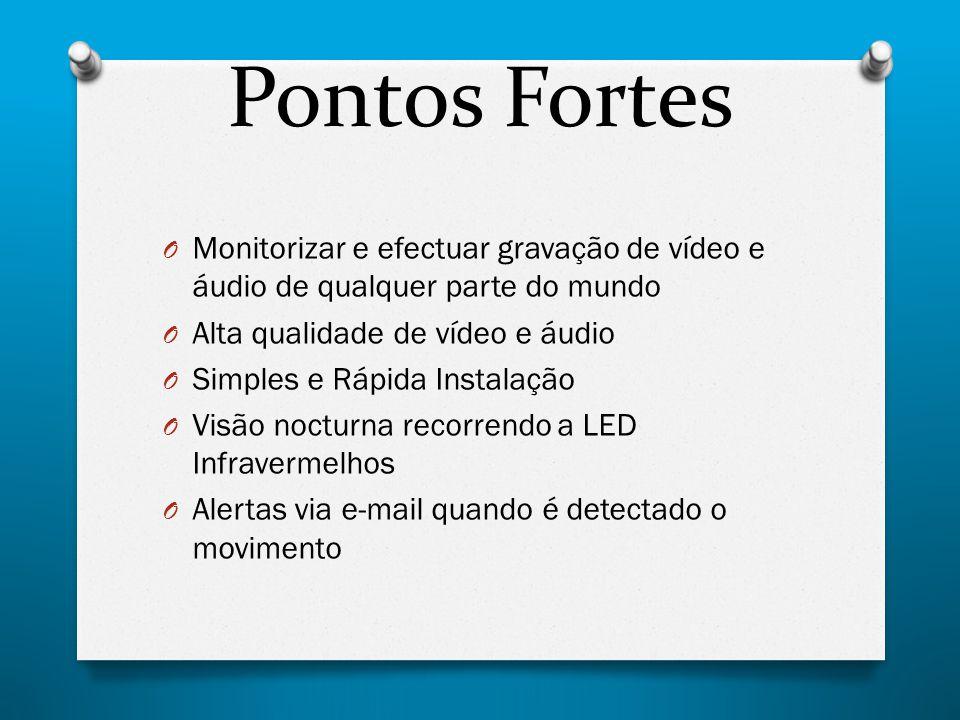Pontos Fortes O Monitorizar e efectuar gravação de vídeo e áudio de qualquer parte do mundo O Alta qualidade de vídeo e áudio O Simples e Rápida Insta