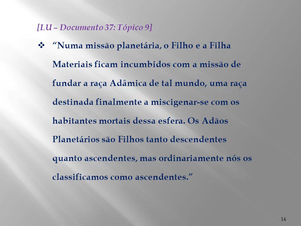 """14 [LU – Documento 37: Tópico 9]  """"Numa missão planetária, o Filho e a Filha Materiais ficam incumbidos com a missão de fundar a raça Adâmica de tal"""