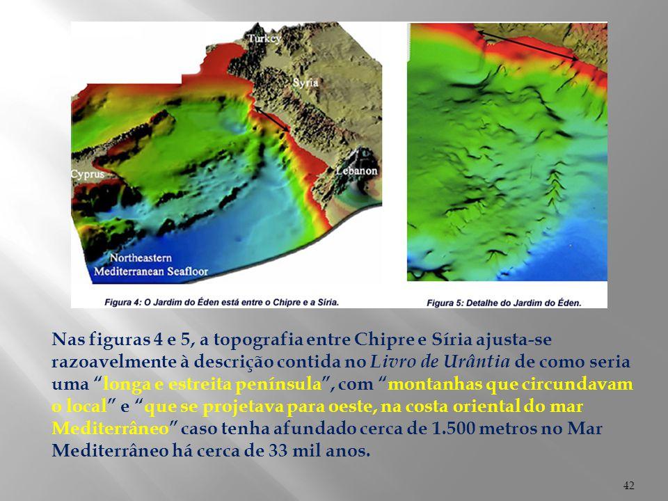 """42 Nas figuras 4 e 5, a topografia entre Chipre e Síria ajusta-se razoavelmente à descrição contida no Livro de Urântia de como seria uma """"longa e est"""