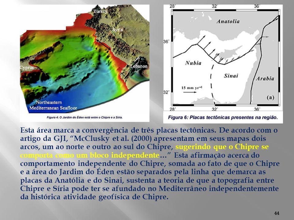 """44 Esta área marca a convergência de três placas tectônicas. De acordo com o artigo da GJI, """"McClusky et al. (2000) apresentam em seus mapas dois arco"""