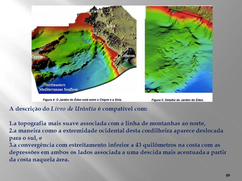 49 A descrição do Livro de Urântia é compatível com: 1.a topografia mais suave associada com a linha de montanhas ao norte, 2.a maneira como a extremi