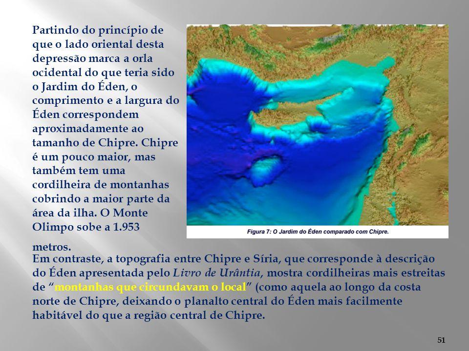 51 Em contraste, a topografia entre Chipre e Síria, que corresponde à descrição do Éden apresentada pelo Livro de Urântia, mostra cordilheiras mais es